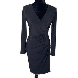 CALVIN KLEIN V-NECK LONG SLEEVE BODY-CON DRESS